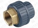 GF 550. Муфта разъемная переходная, PVC-U / латунь, раструб / внутр. резьба Rp