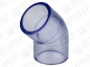 Колено 45°, PVC-U (прозрачный), раструб